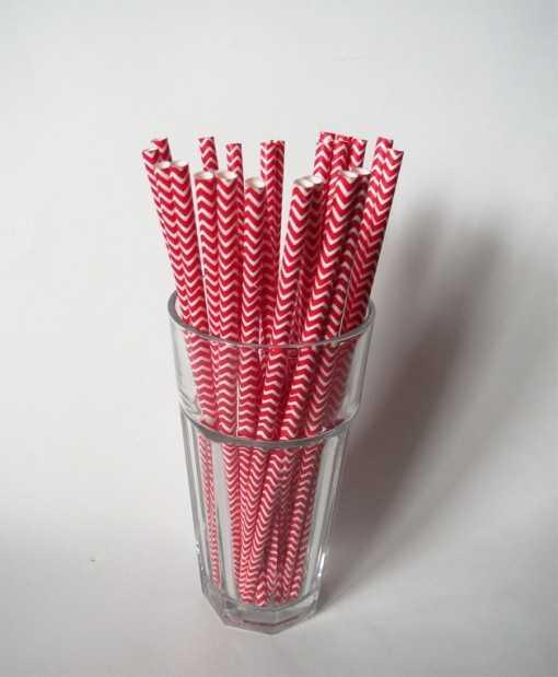 Paille en papier chevrons - Rouge