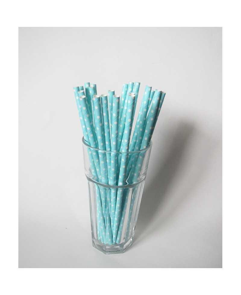 Paille en papier pois - Bleu ciel