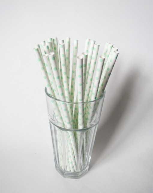 Paille en papier - Blanche à pois Verts clairs