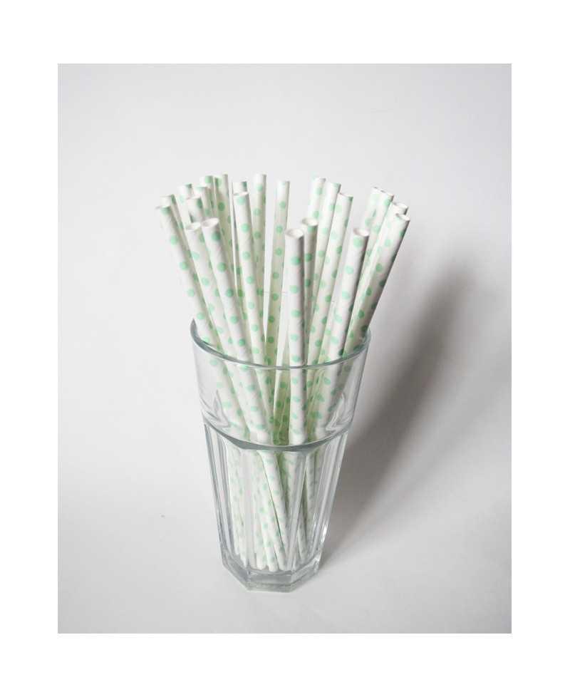 Paille en papier unie - Blanche à pois Verts clairs